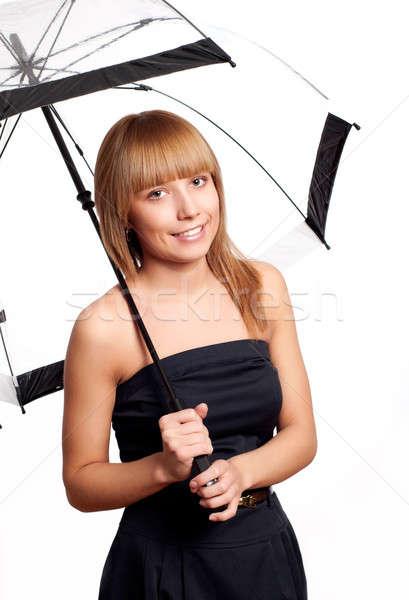Femme parapluie jeunes mode sourire femme Photo stock © adam121