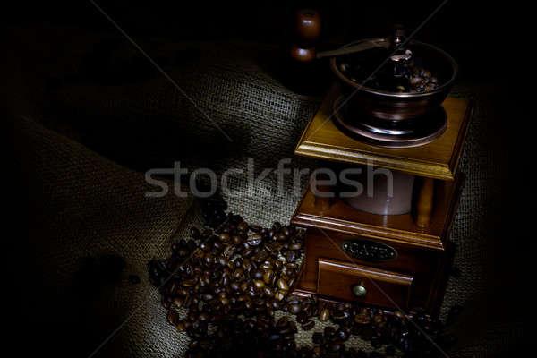 Café molino frijoles arpillera énfasis Foto stock © adam121