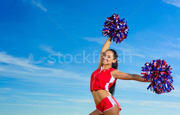 小さな チアリーダー 赤 衣装 青空 ファッション ストックフォト © adam121