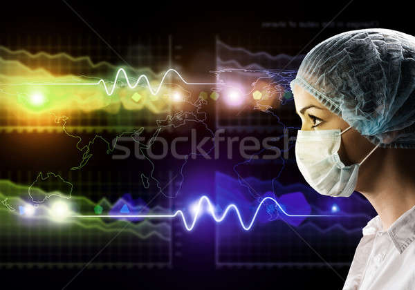 female doctor in protective mask and glasses Stock photo © adam121