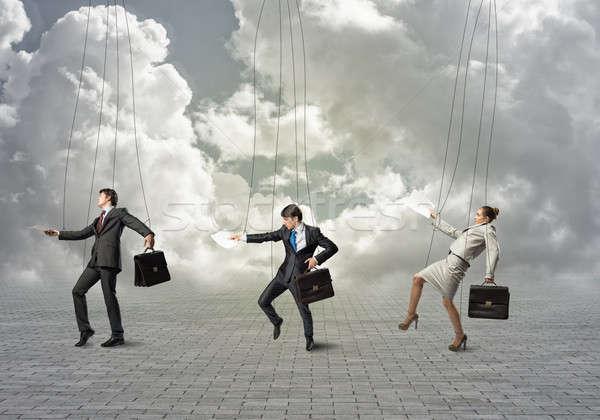 üzletemberek üzletemberek akasztás üzlet nő férfi Stock fotó © adam121