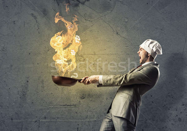 Stock photo: Businessman with pan