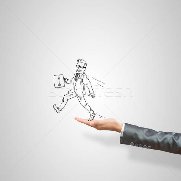 üzletember pálma rajzolt női szürke munka Stock fotó © adam121