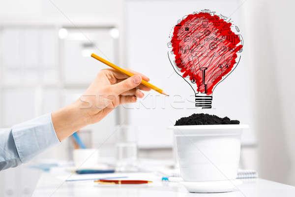 Stock fotó: Nő · jövedelem · kéz · üzletember · rajz · ceruza