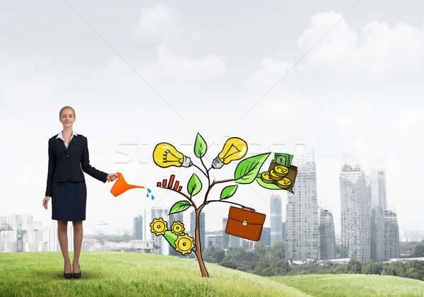 Young businesswoman outdoors watering drawn growth concept with can Stock photo © adam121