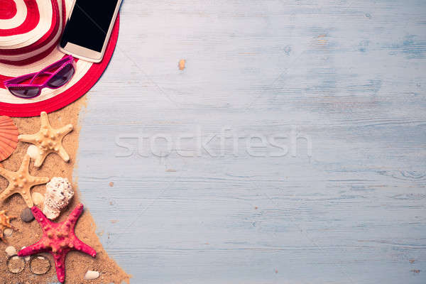 Verano objetos vacaciones sombrero de paja gafas de sol Foto stock © adam121