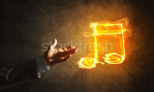 Music concept presented by fire burning icon Stock photo © adam121