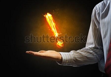 Tűz felkiáltójel izzó szimbólum pálma sötét Stock fotó © adam121