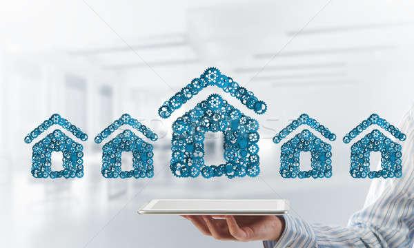 Nieruchomości budowy pomysł domu ikona Zdjęcia stock © adam121