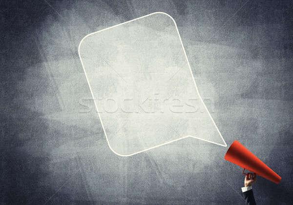 Mão empresária vermelho papel trombeta Foto stock © adam121