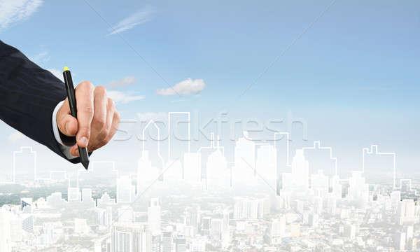 Engenharia estilista trabalhar mão homem desenho Foto stock © adam121
