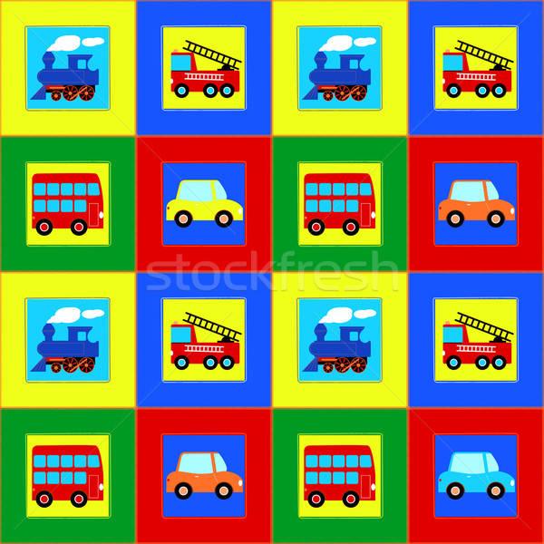 Train, Bus, Car and Fire truck children seamless pattern Stock photo © adamfaheydesigns