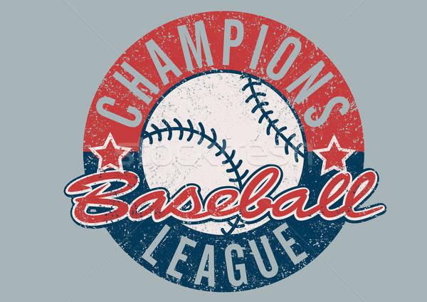 бейсбольной лига печать спортивных мяча Vintage Сток-фото © adamfaheydesigns