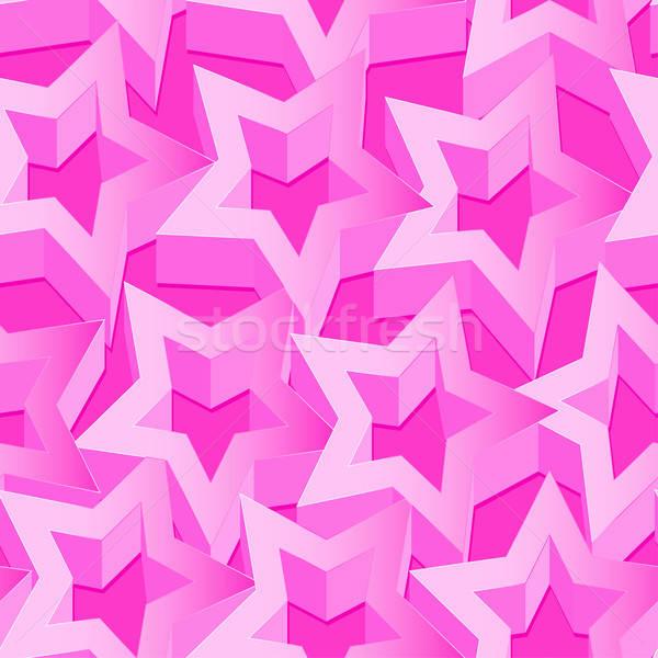 Pink 3D stars seamless patter on pink Stock photo © adamfaheydesigns