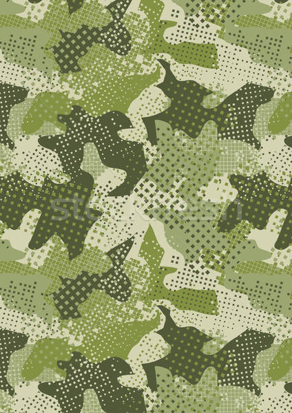 pixelated jungle green camouflage repeat pattern Stock photo © adamfaheydesigns