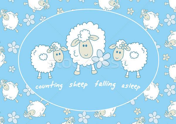 Counting sheep falling asleep Stock photo © adamfaheydesigns