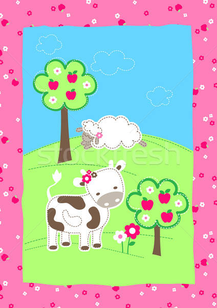 Cute farm animals on a hill embroidery Stock photo © adamfaheydesigns