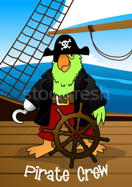 Pirate crew parrot with hook steering the ship Stock photo © adamfaheydesigns