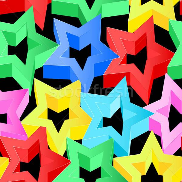 Сток-фото: красочный · 3D · звезды · черный · свет