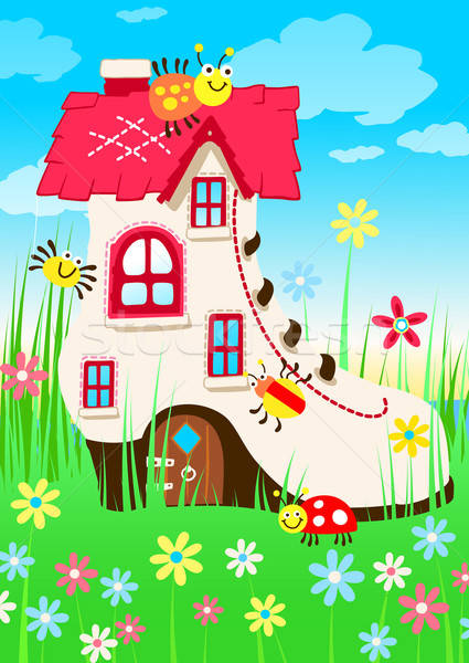 Shoe house with bugs and flowers Stock photo © adamfaheydesigns