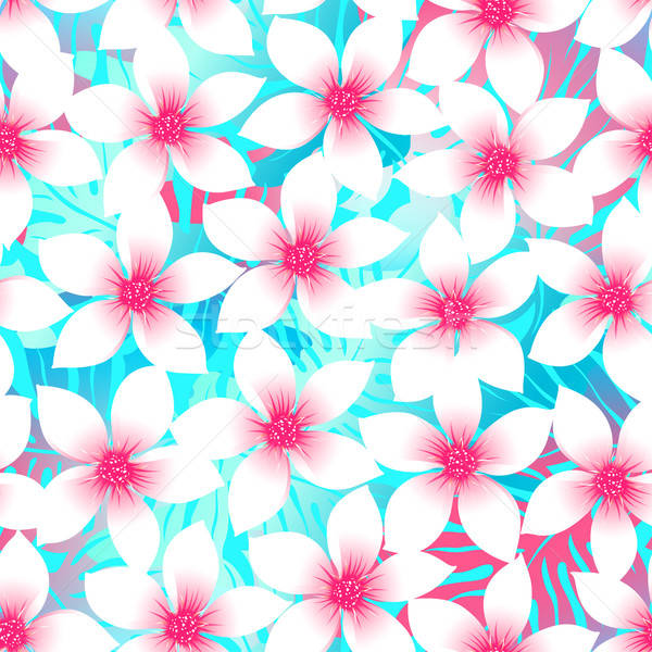 Pink and aqua Plumeria and Hibiscus floral seamless pattern Stock photo © adamfaheydesigns