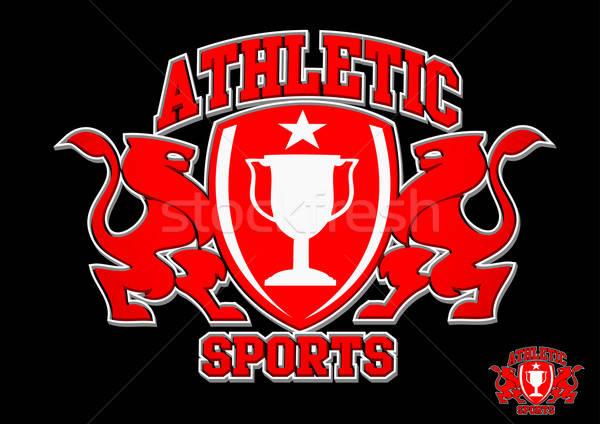 3D Athletic sports red emblem on black background Stock photo © adamfaheydesigns