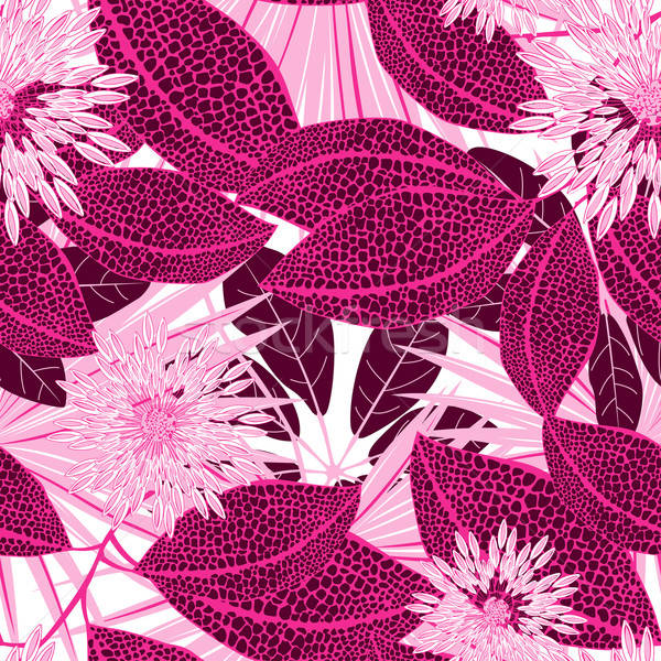 Tropical pink spotted flowers in a seamless pattern Stock photo © adamfaheydesigns