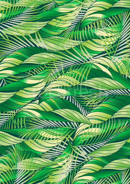 Green tropical palm and plant leaf repeat pattern Stock photo © adamfaheydesigns