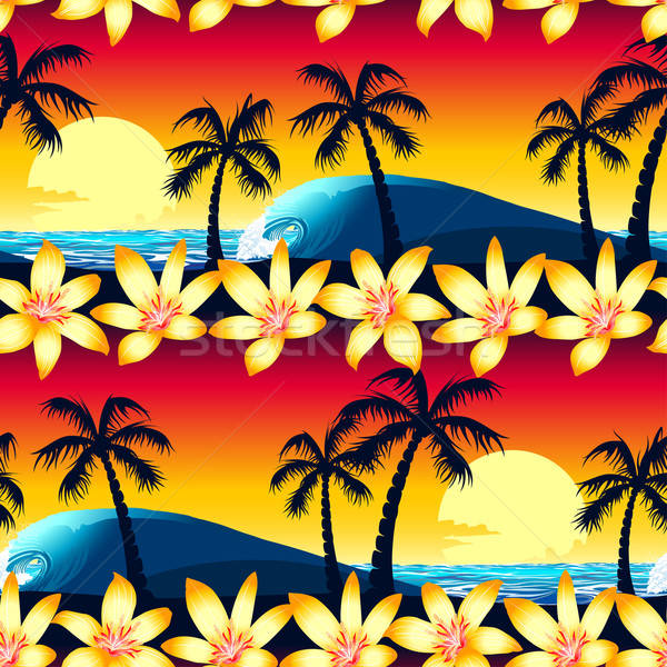 Tropical hibiscus and palm tree at sunset seamless pattern Stock photo © adamfaheydesigns