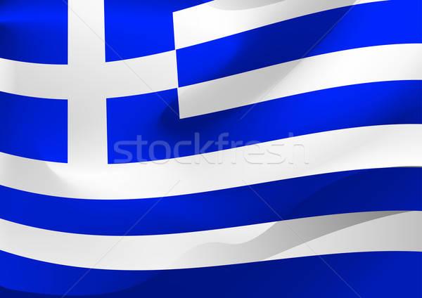 Griekenland vlag wind achtergrond Blauw witte Stockfoto © adamfaheydesigns
