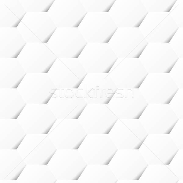 Fehér mértani hatszög végtelen minta árnyék háttér Stock fotó © adamfaheydesigns