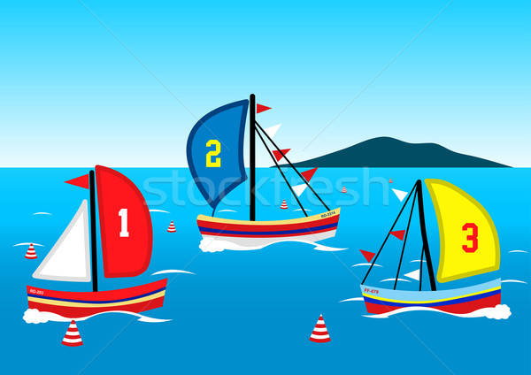 Three sailing boats race on the water Stock photo © adamfaheydesigns