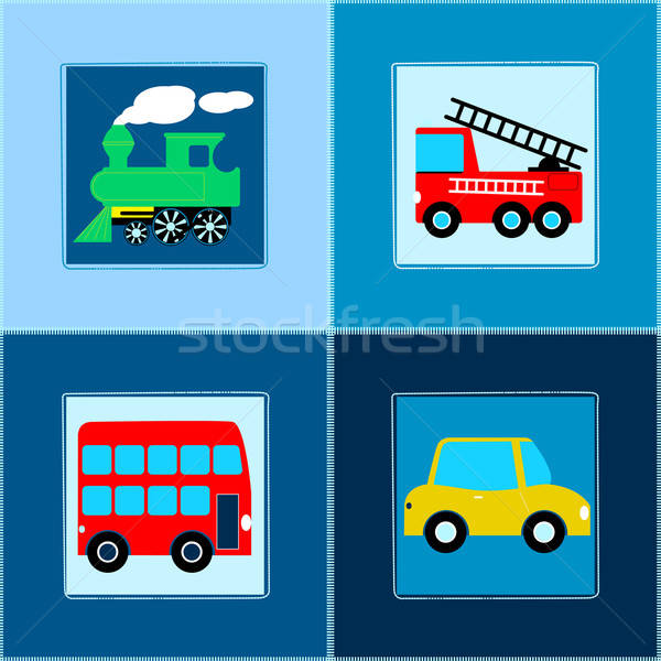Cute Train Bus Car and Fire truck children seamless pattern Stock photo © adamfaheydesigns