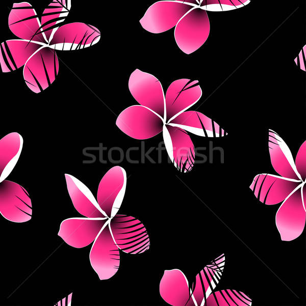 Tropical palm leaves over pink frangipani seamless pattern Stock photo © adamfaheydesigns