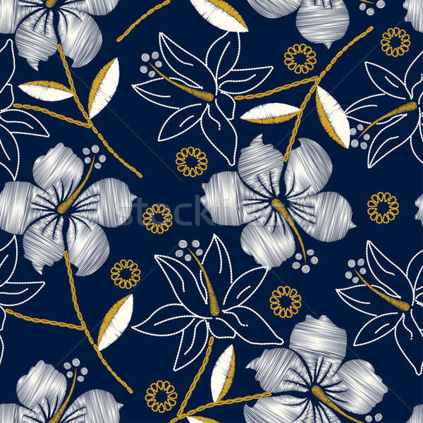Hibiscus tropical embroidery navy seamless pattern Stock photo © adamfaheydesigns