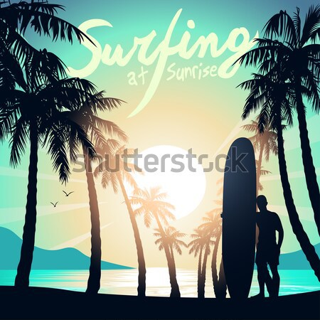 Surfing girl with surfboard and palm trees Stock photo © adamfaheydesigns