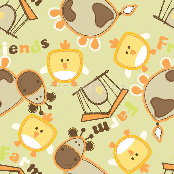 Farm friends with cow and bird seamless pattern Stock photo © adamfaheydesigns