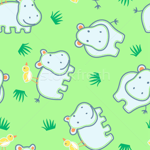 Happy hippo with friendly bird seamless pattern Stock photo © adamfaheydesigns