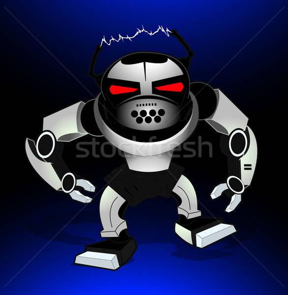 Robot aanval krijger Rood ogen kinderen Stockfoto © adamfaheydesigns