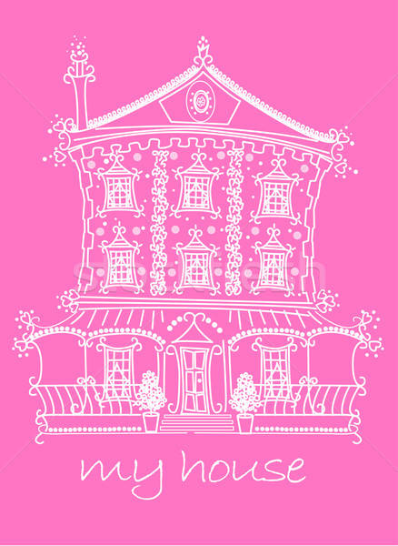 Pretty lace doll house on pink background Stock photo © adamfaheydesigns