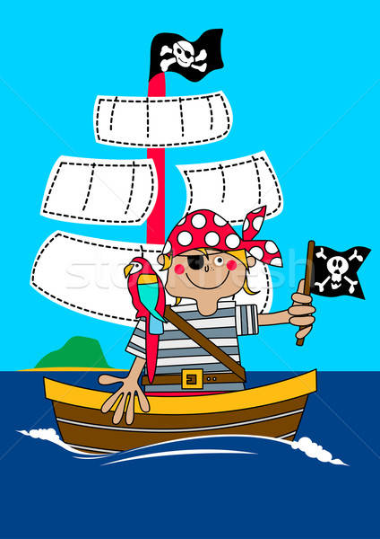 Pirate boy sailing on ship with parrot Stock photo © adamfaheydesigns