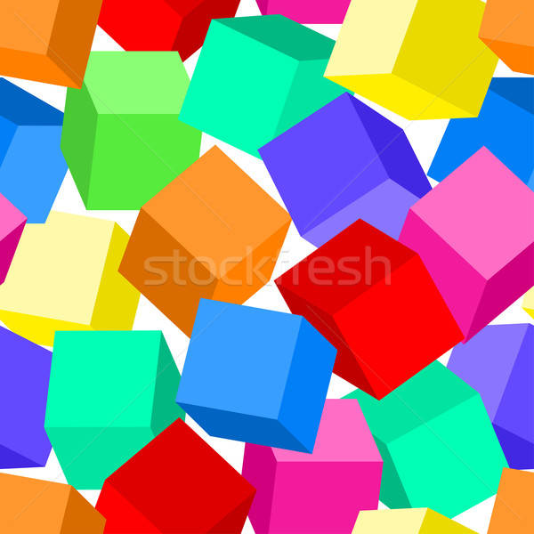 Colorful 3D blocks in a seamless pattern Stock photo © adamfaheydesigns