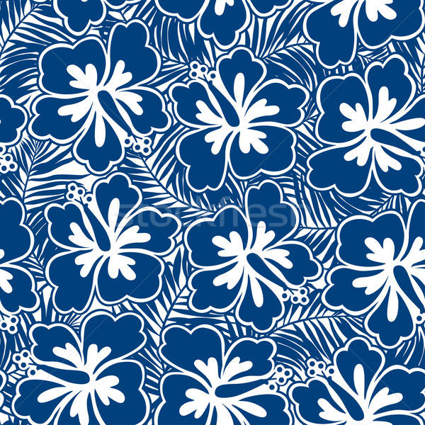 Hibiscus blue flowers and tropical leaves in a seamless pattern Stock photo © adamfaheydesigns