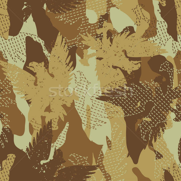 Desert eagle military camouflage seamless pattern Stock photo © adamfaheydesigns