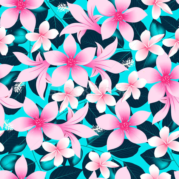 Pink tropical hibiscus flowers with blue leaves seamless pattern Stock photo © adamfaheydesigns