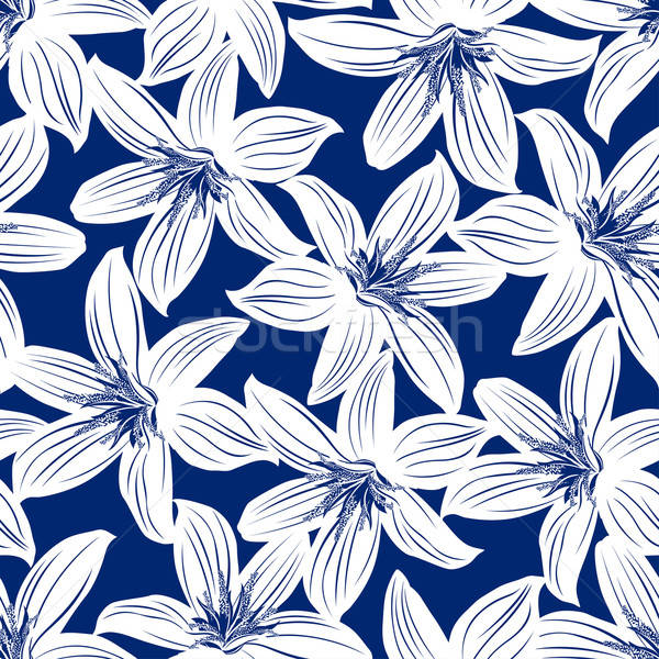 Navy and white tropical hibiscus floral seamless pattern Stock photo © adamfaheydesigns