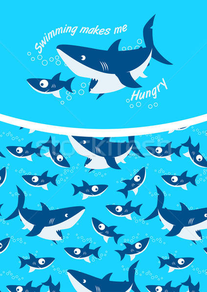 Swimming makes me hungry repeat pattern background Stock photo © adamfaheydesigns