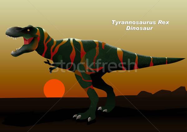 Tyrannosaurus Rex Dinosaur walking at sunset Stock photo © adamfaheydesigns