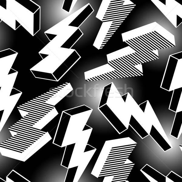 Fehér absztrakt villám végtelen minta grafikus Stock fotó © adamfaheydesigns