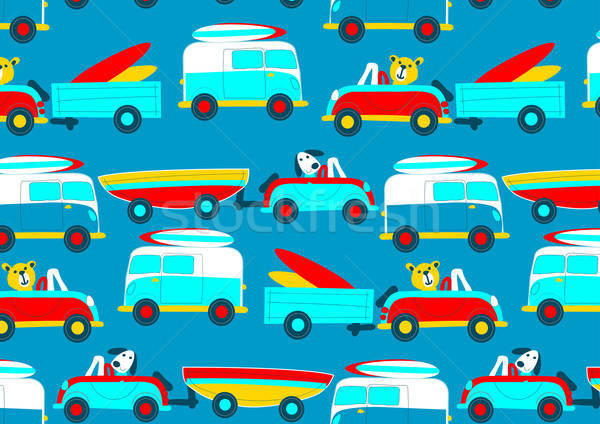 Animals driving to the beach beep beep repeat pattern Stock photo © adamfaheydesigns